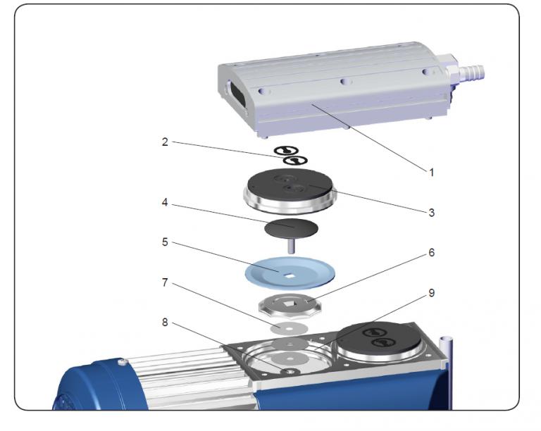 Membrane (5) und Ventile (2) innerhalb der Vakuumpumpe MD 1C