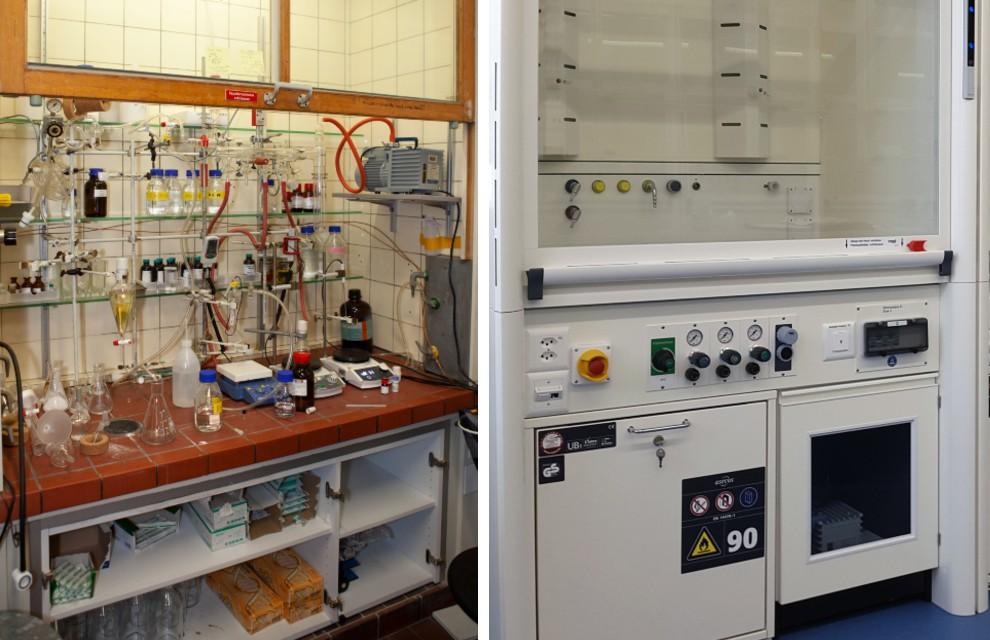 Platzierung der Vakuumpumpe früher im Abzug (links), heute im Unterschrank (unten rechts)