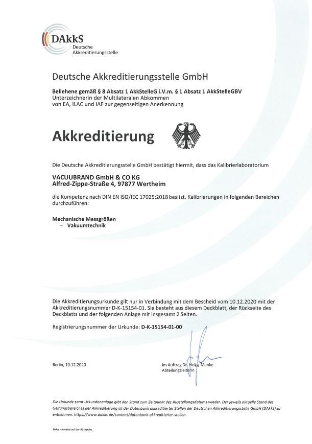 Neueste Akkredtierungsurkunde nach der Norm DIN EIN ISO/IEC 17025:2018