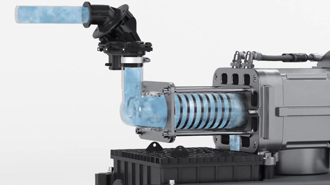 Die Vakuumerzeugung bei Schraubenpumpen beruht auf dem Gastransport in spaltgedichteten Kammern.