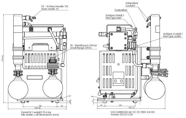 MZ 2C EX +AK+EK - Dimension sheet