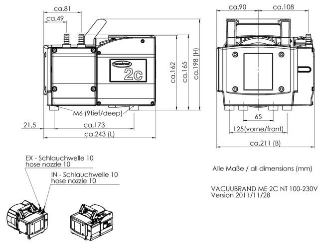 ME 2C NT - 尺寸规格表