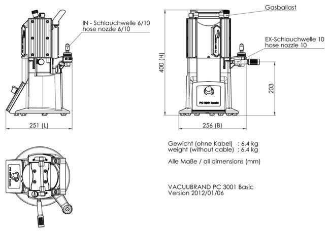 PC 3001 basic - Dimension sheet