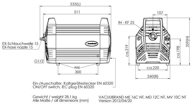 MV 10C NT - Dimension sheet
