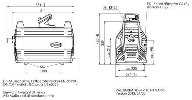 MV 10 NT VARIO - Dimension sheet