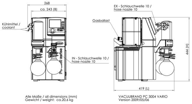 PC 3004 VARIO - 尺寸规格表