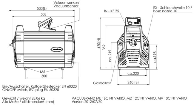 ME 16C NT VARIO - Dimension sheet