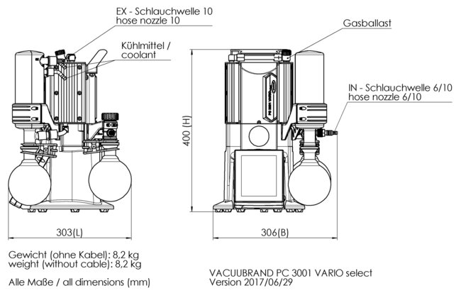 PC 3001 VARIO select - Dimension sheet