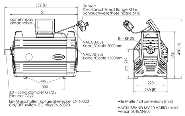 MV 10 VARIO select - Dimension sheet
