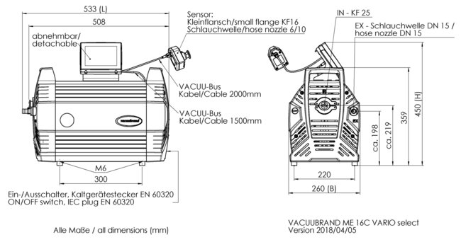 ME 16C VARIO select - Dimension sheet