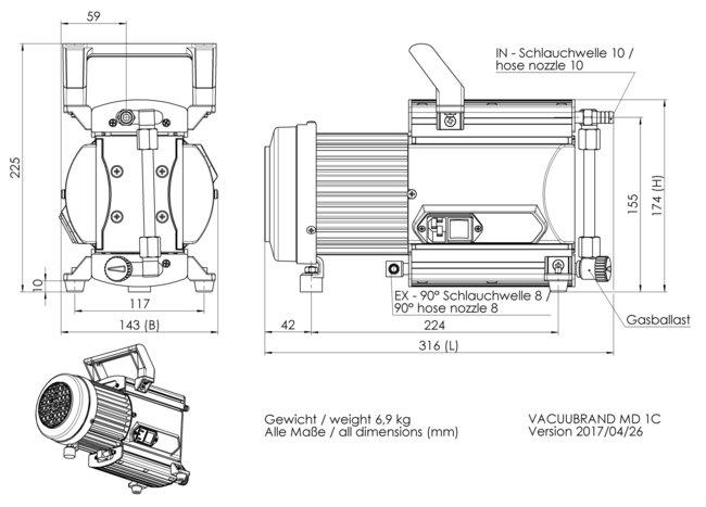 MD 1C - 尺寸规格表