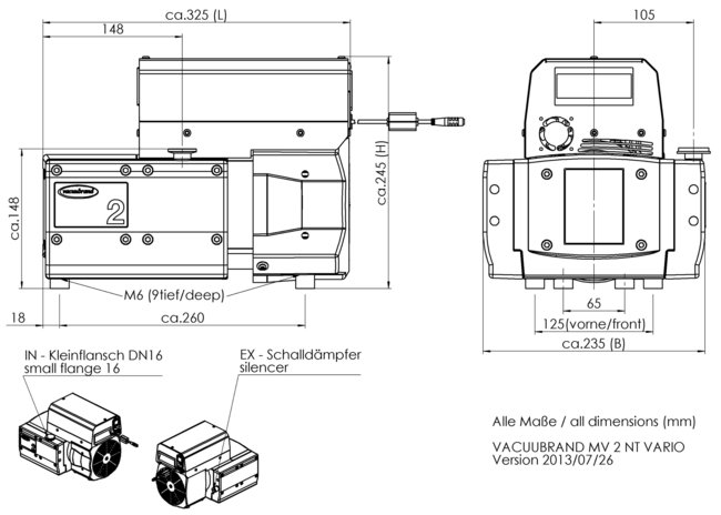 MV 2 NT VARIO - Dimension sheet
