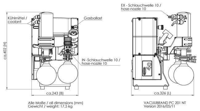 PC 201 NT - Boyut sayfası