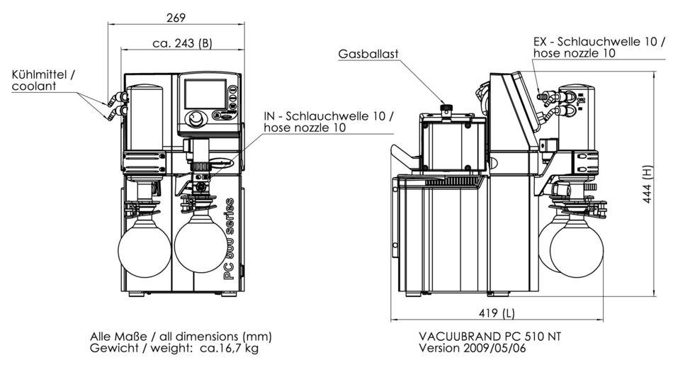 PC 510 NT - Maßblatt - Bild vergrößern