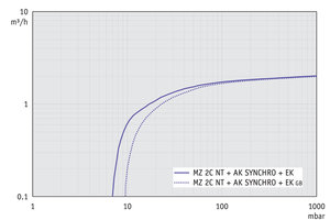 MZ 2C NT +AK SYNCHRO+EK - Pumping speed graph at 50 Hz