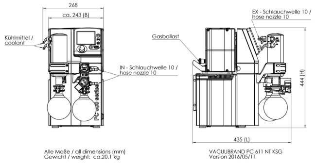 PC 611 NT - 尺寸规格表