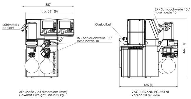 PC 620 NT - 尺寸规格表