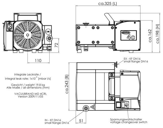 MD 4CRL NT - 尺寸规格表